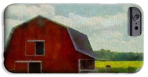 The View Mixed Media iPhone Cases - Red Barn In Ohio iPhone Case by Dan Sproul