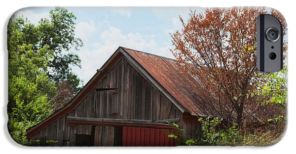 Old Barn iPhone Cases - Red Barn in Texas iPhone Case by Iris Greenwell