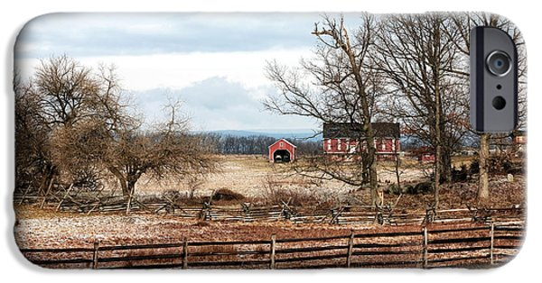 Red Barn In Winter iPhone Cases - Red Barn in the Field iPhone Case by John Rizzuto