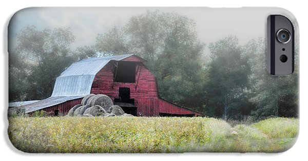 Old Barns iPhone Cases - Red Barn In The Fog iPhone Case by Jai Johnson