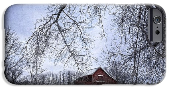 Snow iPhone Cases - Red Barn in the Snow iPhone Case by HD Connelly