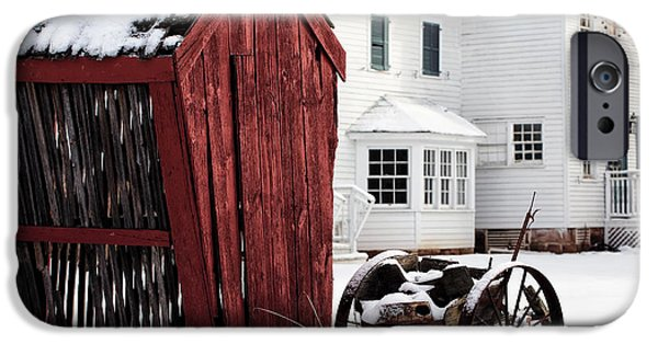 East Village iPhone Cases - Red Barn in Winter iPhone Case by John Rizzuto