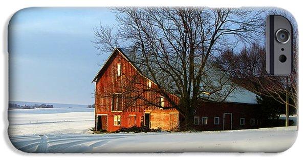 Nebraska iPhone Cases - Red Barn in Winter iPhone Case by Nikolyn McDonald