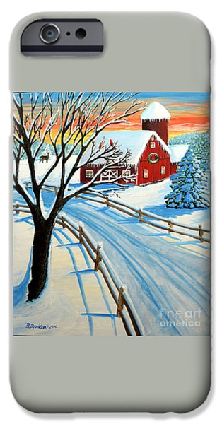Red Barn In Winter iPhone Cases - Red Barn In Winter iPhone Case by Patricia L Davidson