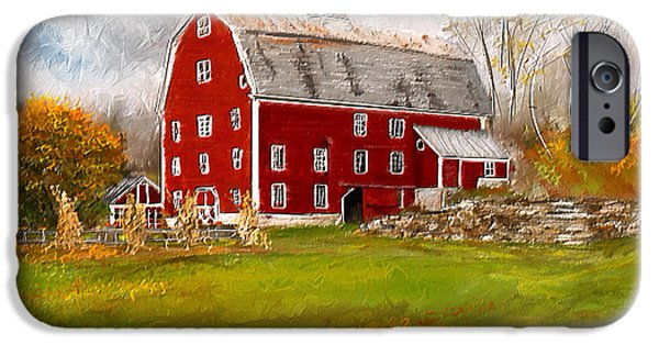 Autumn Scenes Paintings iPhone Cases - Red Barn in Woodstock Vermont- Red Barn Art iPhone Case by Lourry Legarde