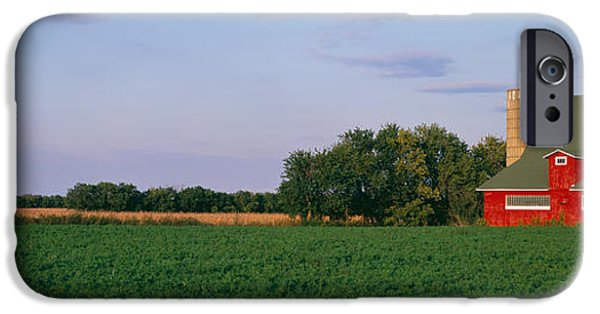 Illinois Barns iPhone Cases - Red Barn Kankakee Il Usa iPhone Case by Panoramic Images