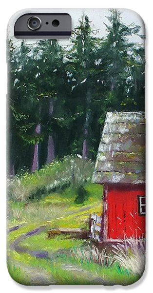 Pastel iPhone Cases - Red Barn iPhone Case by Marie-Claire Dole