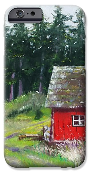 Barn Landscape Pastels iPhone Cases - Red Barn iPhone Case by Marie-Claire Dole