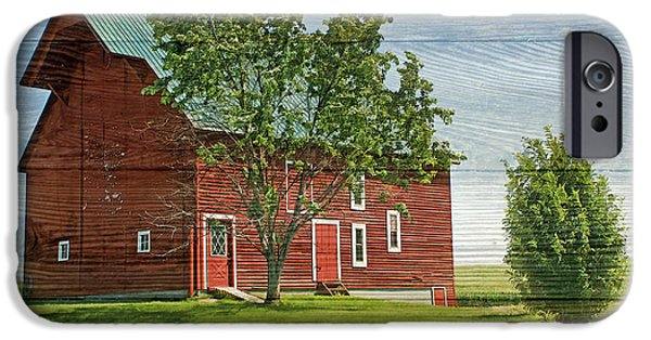Nebraska iPhone Cases - Red Barn on Siding iPhone Case by Nikolyn McDonald