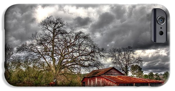 Hayfield iPhone Cases - Red Barn on The Boswell Farm iPhone Case by Reid Callaway