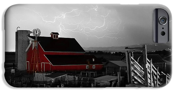 The Lightning Man iPhone Cases - Red Barn On The Farm and Lightning Thunderstorm BWSC iPhone Case by James BO  Insogna