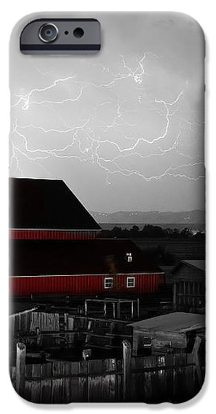 Red Barn On The Farm and Lightning Thunderstorm BWSC iPhone Case by James BO  Insogna