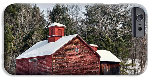 New England Snow Scene iPhone Cases - Red Barn on Tyringham Road - Square iPhone Case by Geoffrey Coelho