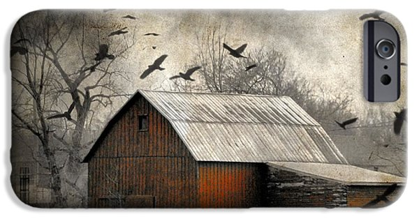 Dark Skies iPhone Cases - The Old Red Barn iPhone Case by Gothicolors Donna Snyder