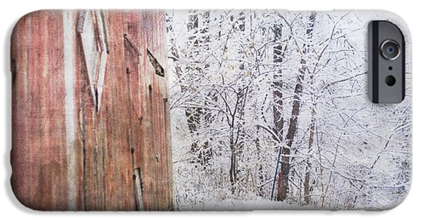 Red Barn In Winter iPhone Cases - Red Barn Siding iPhone Case by Annette Persinger