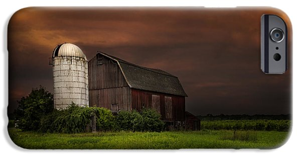 Old Barn iPhone Cases - Red Barn Stormy Sky - Rustic Dreams iPhone Case by Gary Heller