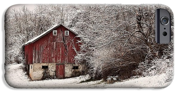Landscape Posters iPhone Cases - red barn West Virginia iPhone Case by Chris Flees