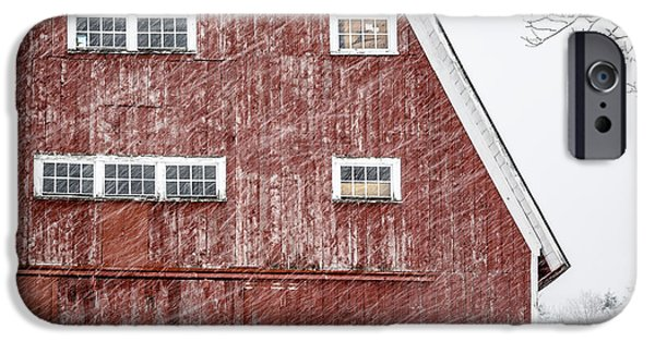 Winter Storm iPhone Cases - Red Barn Whiteout iPhone Case by Edward Fielding