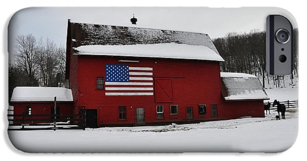 Red Barn In Snow iPhone Cases - Red Barn with Flag in the Snow iPhone Case by Bill Cannon