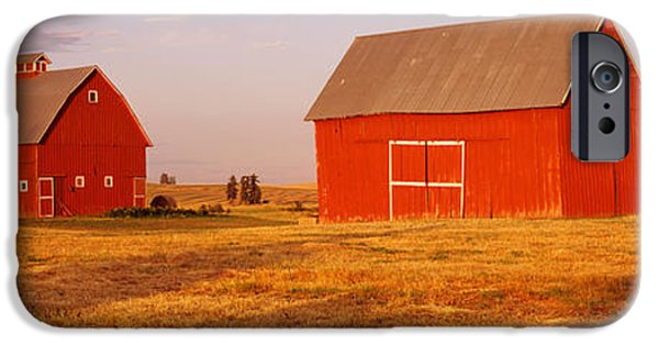 Bales iPhone Cases - Red Barns In A Farm, Palouse, Whitman iPhone Case by Panoramic Images