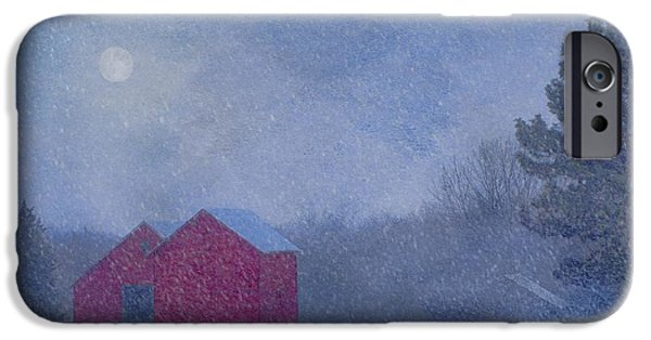 Snowy Night Photographs iPhone Cases - Red Barns in the Moonlight iPhone Case by Nikolyn McDonald