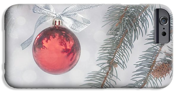 Baubles iPhone Cases - Red Bauble iPhone Case by Juli Scalzi