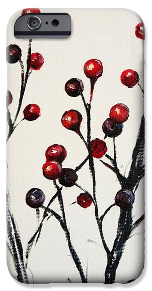 Nature Study Paintings iPhone Cases - Red Berry Study iPhone Case by Rebekah Reed