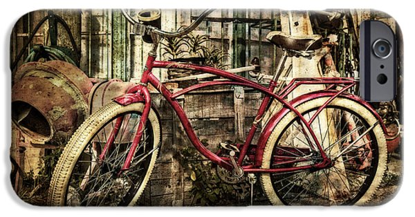 Fat Tire iPhone Cases - Red Bike iPhone Case by Debra and Dave Vanderlaan