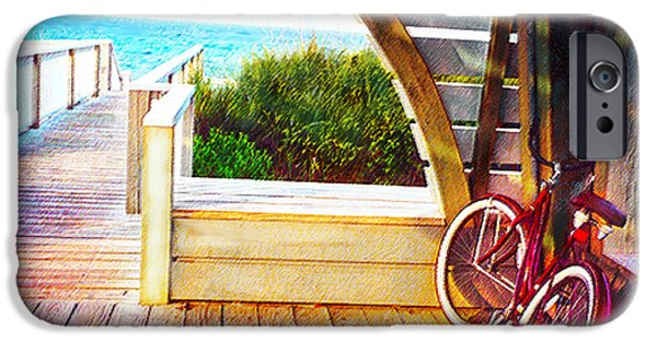 Florida Panhandle iPhone Cases - Red Bike On Beach Boardwalk iPhone Case by Jane Schnetlage
