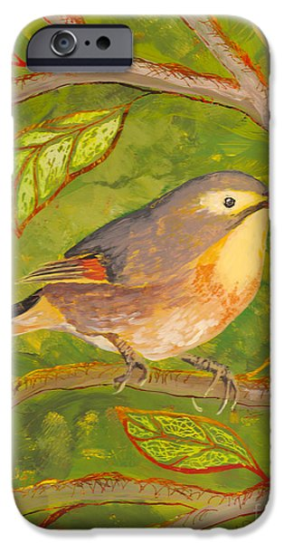 Bright Colors Glass Art iPhone Cases - Red-billed Leiothrix iPhone Case by Anna Skaradzinska