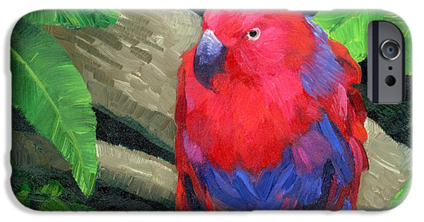Aviary iPhone Cases - Red Bird iPhone Case by Alice Leggett