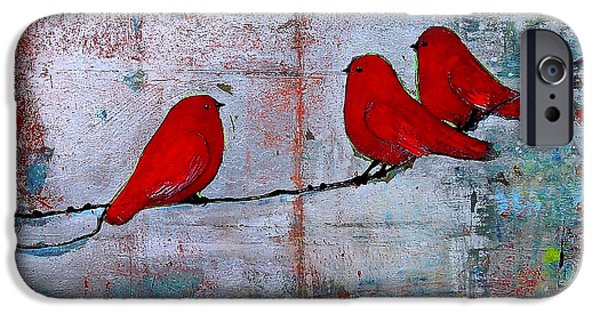Trio iPhone Cases - Red Birds Let It Be iPhone Case by Blenda Studio