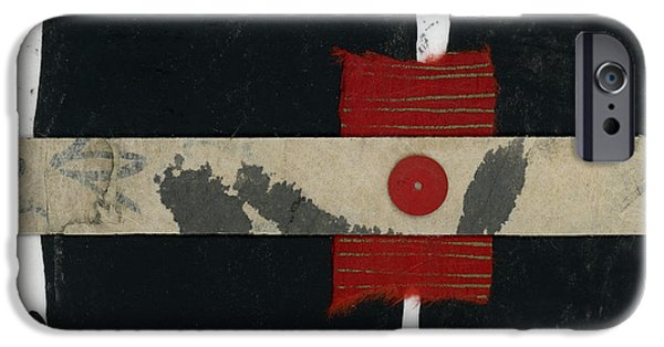 Torn Mixed Media iPhone Cases - Red Black and White Collage 1 iPhone Case by Carol Leigh