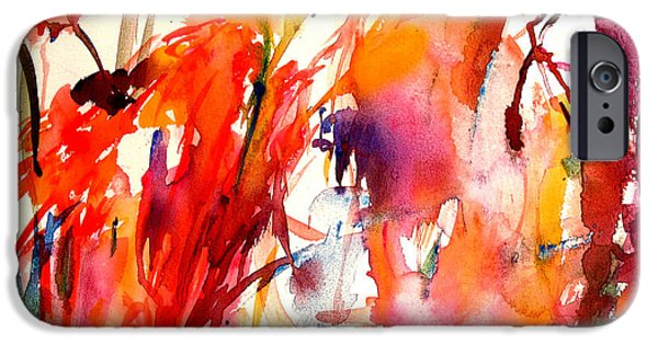 Abstract Expressionism iPhone Cases - Red Blooms iPhone Case by  Tolere