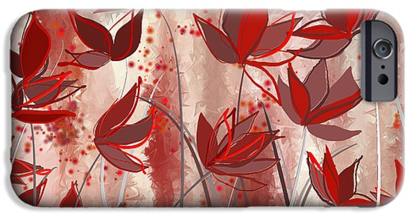 Pantone iPhone Cases - Red Blossoms- Marsala Art iPhone Case by Lourry Legarde