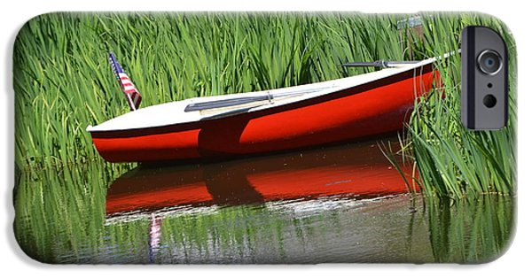 Boats In Water iPhone Cases - Red Boat On A Lake -  American Flag iPhone Case by ArtyZen Studios - ArtyZen Home