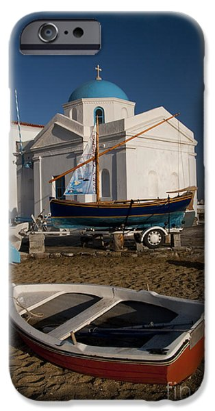 Seacoast iPhone Cases - Red Boat in Mykonos at Dawn iPhone Case by David Smith