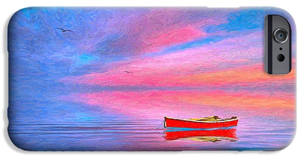 Cape Cod Mixed Media iPhone Cases - Red Boat iPhone Case by Michael Petrizzo