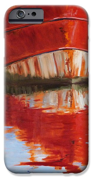 Crops iPhone Cases - Red Boat iPhone Case by Nancy Merkle
