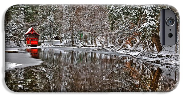 Snow Scene iPhone Cases - Red Boathouse in Winter iPhone Case by David Patterson