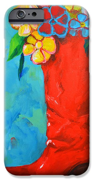 Red Boot with Flowers iPhone Case by Patricia Awapara