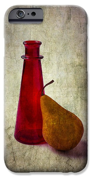 Pears iPhone Cases - Red Bottle And Pear iPhone Case by Garry Gay
