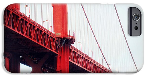 Asphalt iPhone Cases - red Bridge iPhone Case by HQ Photo