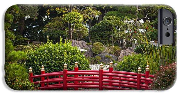 Japanese Garden iPhone Cases - Red bridge in Japanese garden iPhone Case by Elena Elisseeva