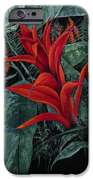Bromeliad iPhone Cases - Red Bromeliad iPhone Case by Virginia McLaren