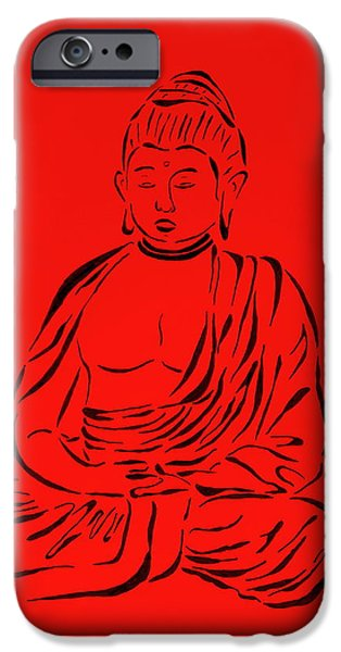 Religious Drawings iPhone Cases - Red Buddha iPhone Case by Pamela Allegretto
