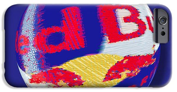Bulls Mixed Media iPhone Cases - Red Bull Orb iPhone Case by Tony Rubino