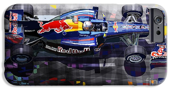 Bulls Mixed Media iPhone Cases - Red Bull RB6 Vettel 2010 iPhone Case by Yuriy  Shevchuk