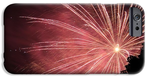 Fireworks iPhone Cases - Red Burst iPhone Case by Andrea McClinnis