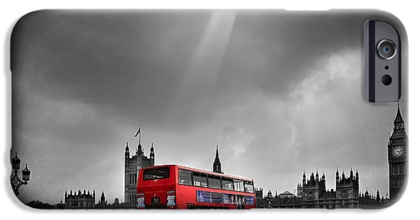 Bus Photographs iPhone Cases - Red Bus iPhone Case by Svetlana Sewell